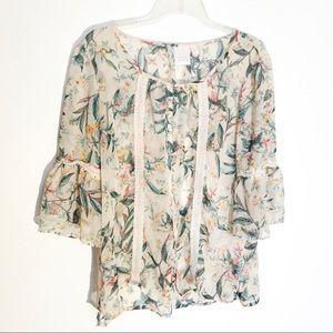 Lauren Conrad Sheer Floral Lace Detail Top XL